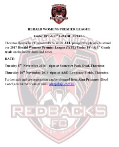 2017 Thornton Redbacks WPL Trials
